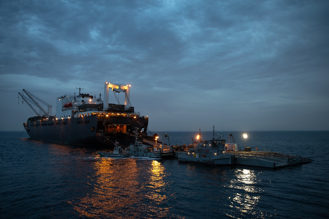 USNS Seay (T-AKR302) unloads I Marine Expeditionary Force equipment during exercise Native Fury 20 in the Arabian Gulf, March 14, 2020. Native Fury 20 is a joint bilateral exercise involving thousands of forces demonstrating the ability to respond to contingencies, natural disasters and other possible crises in the region.