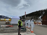 Members of the Colorado National Guard assist San Miguel County and the Colorado Department of Public Health & Environment with a COVID-19 drive-up testing station in Telluride, Colorado, March 17, 2020. The CONG's 8th Weapons of Mass Destruction-Civil Support Team and Chemical, Biological, Radiological, Nuclear and high-yield Explosive Enhanced Response Force Package are Colorado's resident trained and equipped experts in biological hazards. Colorado's 8th WMD-CST and CERFP are available to the governor and Federal Emergency Management Agency Region Eight. (Photo courtesy Jennifer Dinsmore, San Miguel County Sheriff's Office)