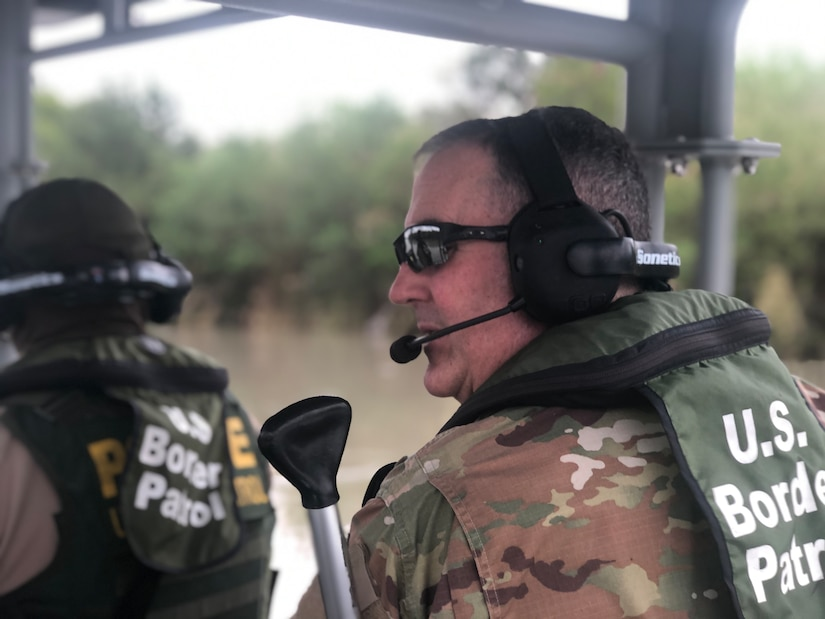 Brig. Gen. Tyler B. Smith visits members of the 141st Military Intelligence Battalion who were mobilized to the Southwestern U.S. border October 1, 2018, as part of Operation Guardian Support, a larger National Guard mission in support of the Department of Homeland Security.