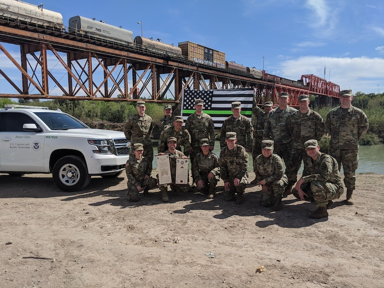 Members of the 141st Military Intelligence Battalion, mobilized to the Southwestern U.S. border October 1, 2018, as part of Operation Guardian Support, a larger National Guard mission in support of the Department of Homeland Security.