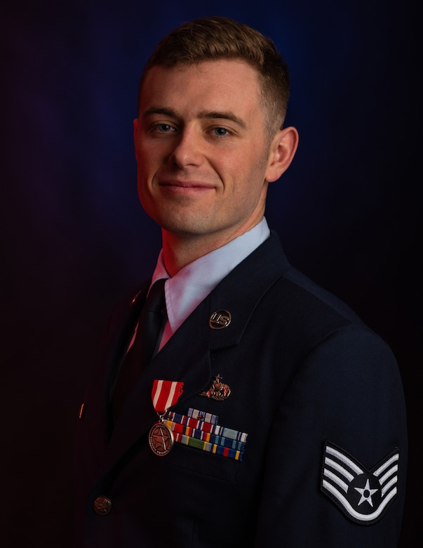 Staff Sgt. Benjamin Anderson, an air freight journeyman assigned to the 137th Special Operations Logistics Readiness Squadron, poses for a portrait after earning the Oklahoma Star of Valor March 6, 2020, at Will Rogers Air National Guard Base, Oklahoma City. Anderson's instinct to act saved a man's life after his semitrailer crashed and burst into flames.