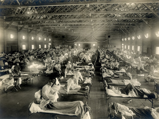 Soldiers at Camp Funston, Kansas, are quarantined while recovering from the Spanish flu in 1918. The flu infected about 500 million people around the world.