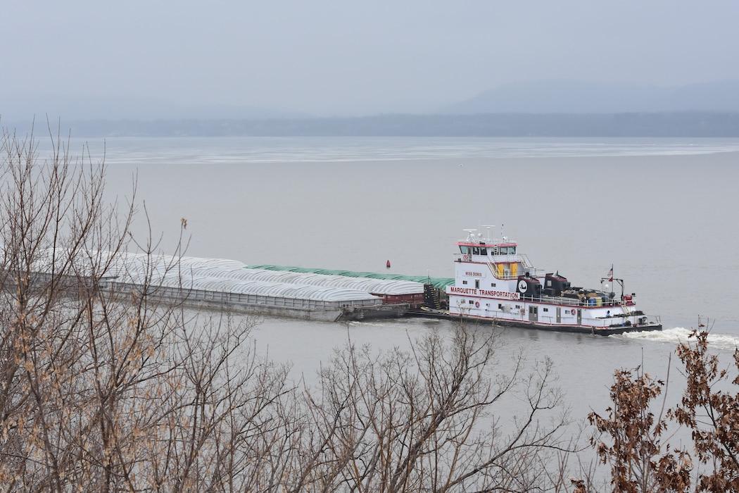 tow boat navigates Lake Pepin
