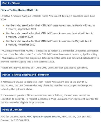 Fitness Testing will resume on June 1, 2020, unless further guidance is published.