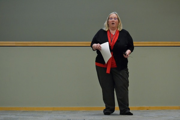 Patricia Lynch, the Command Support Office's Organization Transformation Branch chief, speaks to DLA Troop Support employees about the Agency's Culture/Climate Survey March 12, 2020. The survey is conducted every 18-24 months to assess employees' attitudes in areas ranging from employee morale to job satisfaction.