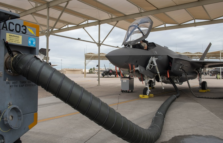 A 63rd Aircraft Maintenance Unit crew chief performs a systems evaluation on an F-35A Lightning II March 10, 2020, at Luke Air Force Base, Ariz.