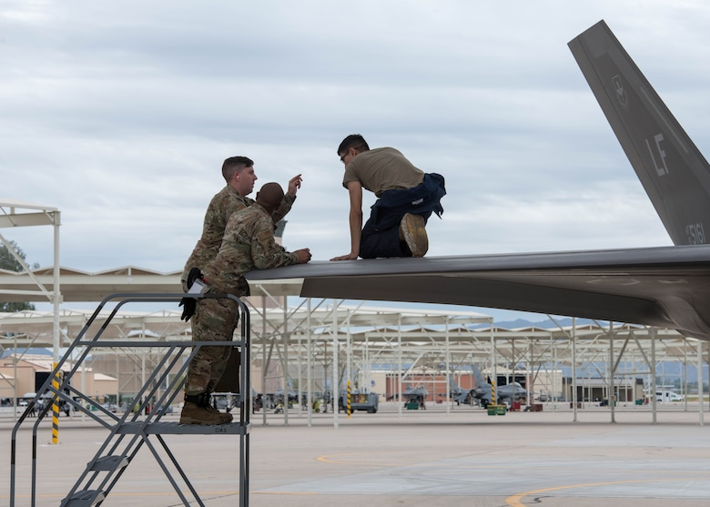Leadership from the 63rd Fighter Squadron conducts on-the-job training for Senior Airman Brenden Hansen, 56th Component Maintenance Squadron maintainer, March 10, 2020, at Luke Air Force Base, Ariz.