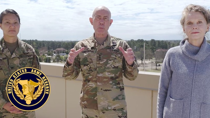 Lt. Gen Charles D. Luckey gives guidance to Army Reserve Families about COVID-19 along with Julie Luckey, Army Reserve senior spouse, and Col. Mary Reed, U.S. Army Reserve Command Surgeon.