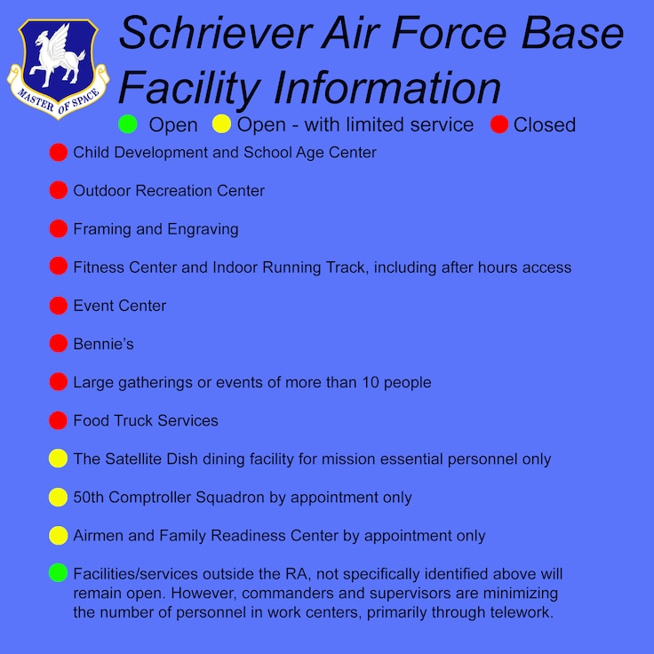 Schriever Air Force Base facility/service availability during COVID-19.