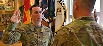 Spc. Jackson McWade is sworn into the New Hampshire Army National Guard.