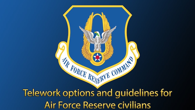 Graphic with AFRC shield and Telework options and guidelines for AFRC civilians text