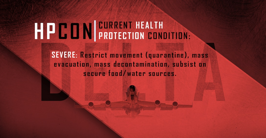 Graphic depicting Offutt AFB at Health Protection Condition Delta.