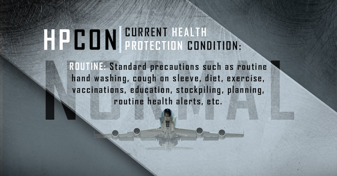 Graphic depicting Offutt AFB at Health Protection Condition Normal.