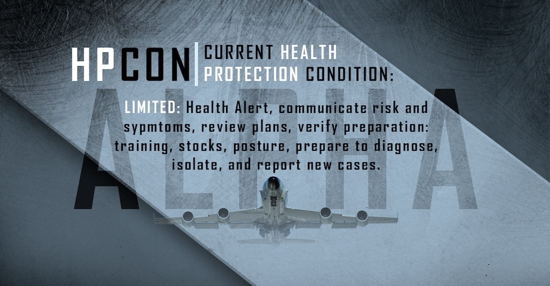 Graphic depicting Offutt AFB at Health Protection Condition Alpha.