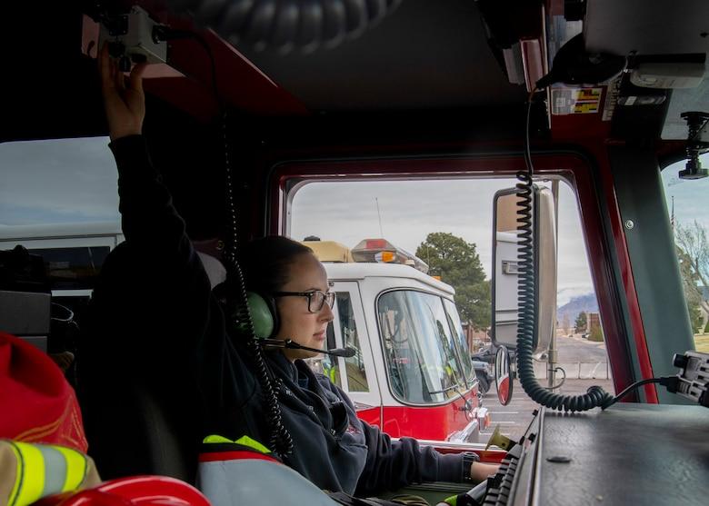 Firefighters tests radio equipment.