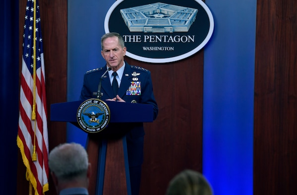 Air Force Chief of Staff Gen. David L. Goldfein conducts a press briefing with the Pentagon Press Corps to address Air Force response efforts for COVID-19 at the Pentagon, Arlington, Va., March 18, 2020. (U.S. Air Force photo by Wayne Clark)