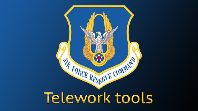 Air Force Reserve graphic with AFRC shield and telework tools accompanying article about various tools to make telework successful.