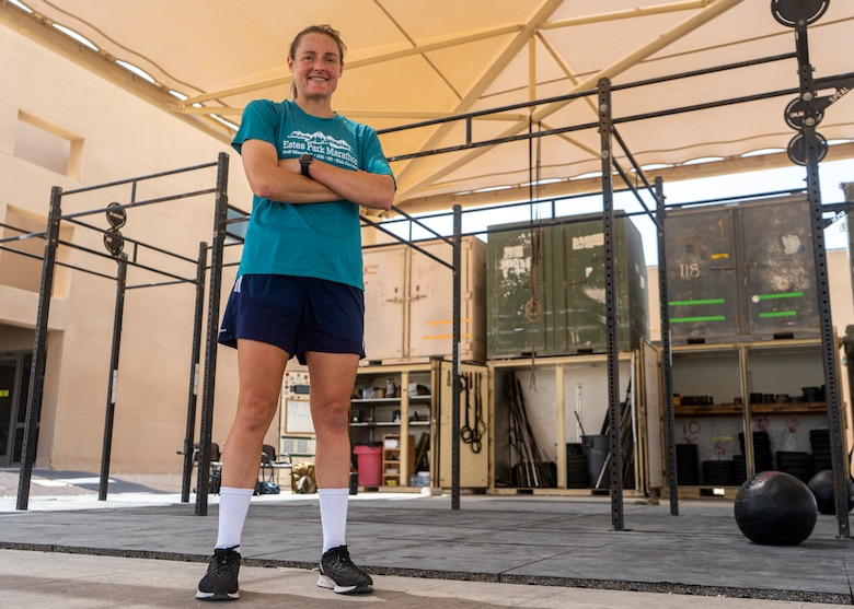 Capt. Alyson Gleason, Space Enhancement Officer, Director of Space Forces Staff, U.S. Air Forces Central Command, stands proud after her cross-fit workout at Al Udeid Air Base, Qatar on March 10, 2020. Gleason trains regularly to maintain her athletic standards. (U.S. Air Force photo by Senior Airman Olivia Grooms)