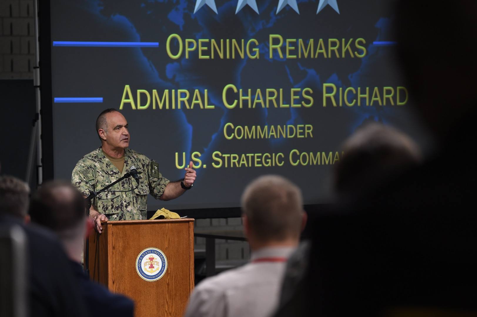 U.S. Navy Adm. Charles Richard, commander of U.S. Strategic Command (USSTRATCOM), speaks to faculty members and students participating in a table top exercise during the 2020 Deterrence and Assurance Academic Alliance Conference at Iowa State University in Ames, Iowa, March 11, 2020. Over 100 participants engaged in a 4-hour wargame designed to apply students' knowledge of U.S. instruments of national power, as they developed solutions to a simulated crisis strategic decision-making scenario.