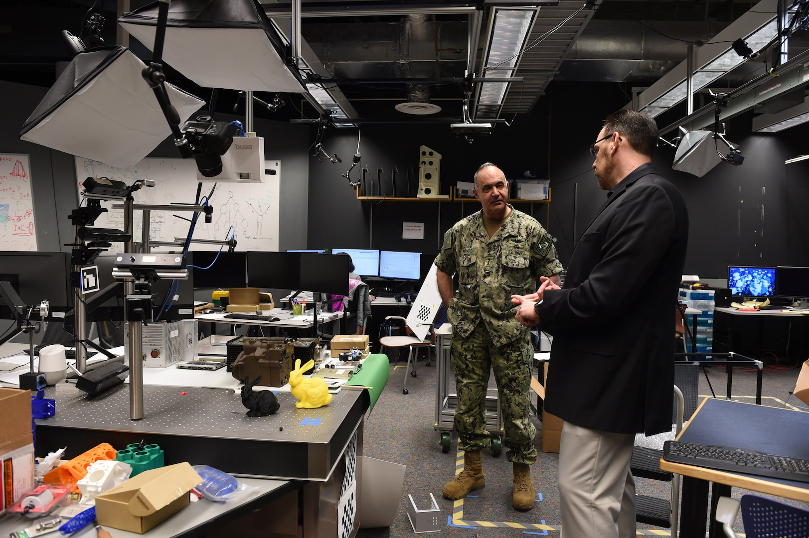 Eliot Winer, director of Iowa State University (ISU) Virtual Reality Applications Center (VRAC), gives U.S. Navy Adm. Charles Richard, commander of U.S. Strategic Command (USSTRATCOM), at tour of the VRAC's Design and Build Lab in Ames, Iowa, March 12, 2020. Richard attended the 2020 Deterrence and Assurance Academic Alliance Conference, a two-day conference featuring a USSTRATCOM-led tabletop exercise focused on deterrence issues, along with student panel presentations, tours and demonstrations, a national security job fair.