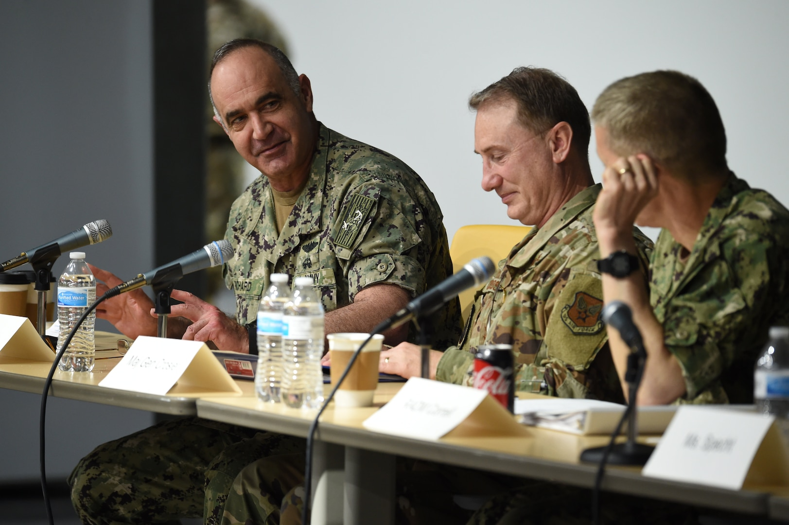 From left, U.S. Navy Adm. Charles Richard, commander of U.S. Strategic Command (USSTRATCOM), U.S. Air Force Maj. Gen. Clinton Crosier, director of space force planning at the office of the Chief of Space Operations, and U.S. Navy Rear Adm. Richard Correll, USSTRATCOM director of plans and policy, participate in a tabletop exercise during the 2020 Deterrence and Assurance Academic Alliance Conference at Iowa State University in Ames, Iowa, March 12, 2020. Over 100 participants engaged in a four-hour USSTRATCOM-led wargame designed to apply students' knowledge of U.S. instruments of national power, as they developed solutions to a simulated crisis strategic decision-making scenario.