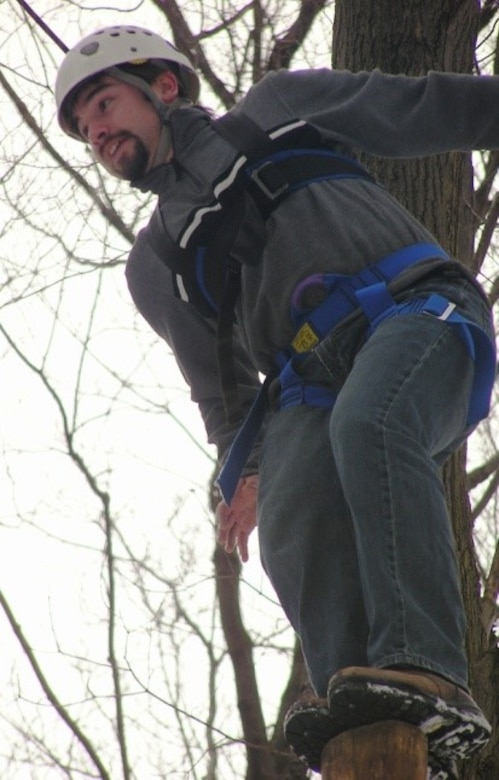 A member of LDP II on a ropes course