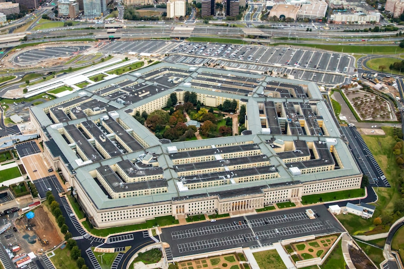 An aerial photo of the Pentagon.