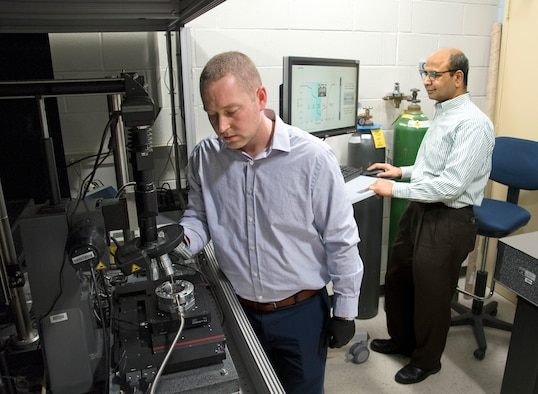 Researchers Dr. Nicholas Glavin (left) and Dr. Ajit Roy are working to develop flexible, wearable toxic agent detectors.
