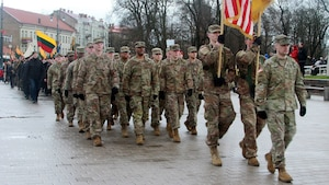 1st Cavalry Division Soldiers participate in Lithuanian Independence Day parade