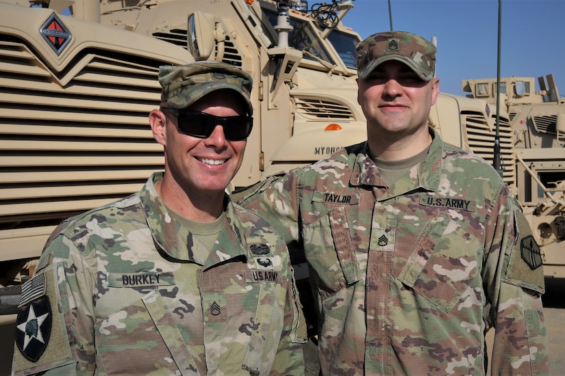 From left, Staff Sgt. Daniel Burkey of the 1st Squadron, 303rd Cavalry Regiment, Washington National Guard, and Staff Sgt. Zachary Taylor of the 301st Maneuver Enhancement Brigade. This month, the 301st MEB joined the 1-303rd Cavalry, which has been in Jordan since November, uniting the Soldiers who happen to be brothers-in-law.