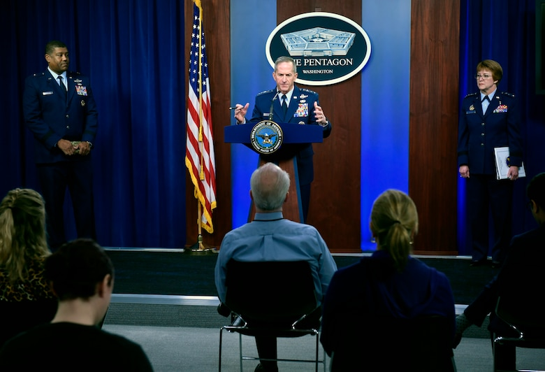 Air Force Chief of Staff Gen. David L. Goldfein conducts a press briefing with the Pentagon Press Corps to address Air Force response efforts for COVID-19 at the Pentagon in Arlington, Va., March 18, 2020. (U.S. Air Force photo by Wayne Clark)