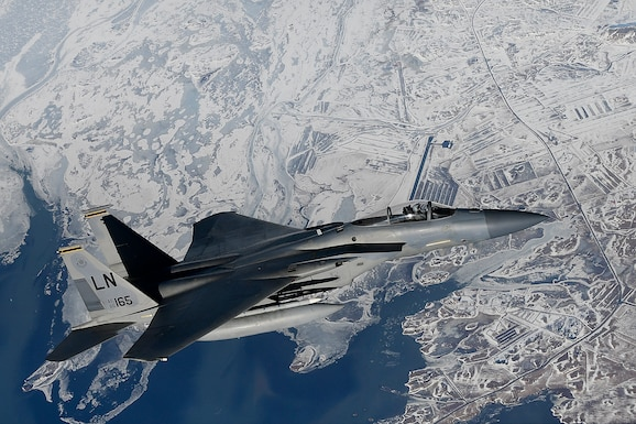An F-15C Eagle assigned to the 48th Fighter Wing conducts aerial operations in support of Bomber Task Force Europe 20-2 over Keflavik, Iceland, March 16, 2020. Bomber missions provide opportunities to train and work with NATO allies and theater partners in combined and joint operations and exercises. (U.S. Air Force photo/ Master Sgt. Matthew Plew)