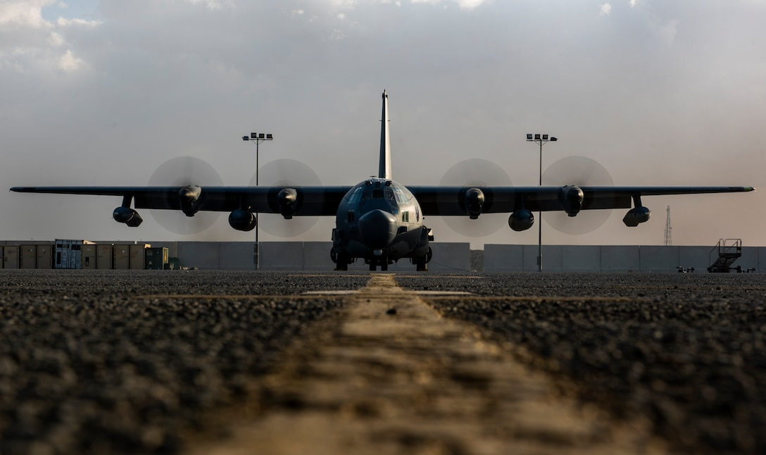 A flight crew tests the engines of an MC-130H Combat Talon II at Ali Al Salem Air Base, Kuwait, March 14, 2020. The MC-130H provides infiltration, exfiltration and resupply of special operations forces and equipment to hostile or denied territory. (U.S. Air Force photo by Senior Airman Kevin Tanenbaum)