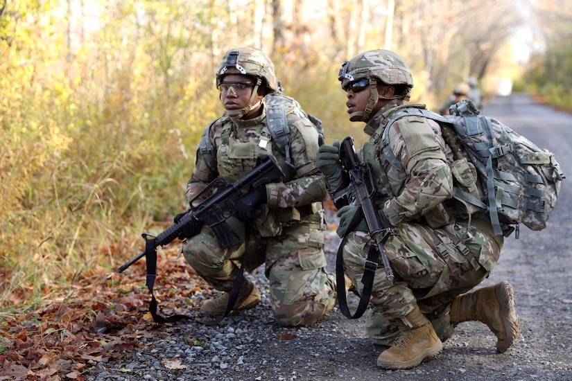 Soldiers with 10th Mountain Division at Ft. Drum surveys an obstacle during a human factor evaluation on the Modular Scalable Vest Gen II with PEO Soldier October 29, 2019.