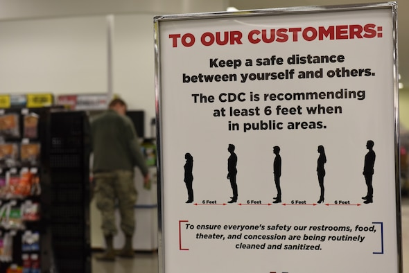 Whiteman Air Force Base Exchange posted signage all throughout the store to inform customers of how to keep a proper safe distance at Whiteman Air Force Base, Missouri, March 19,2020. The Whiteman Air Force Base Exchange has removed all open seating from the food court in efforts to keep large groups at a low. (U.S. Air Force photo by Senior Airman Alexandria Lee)