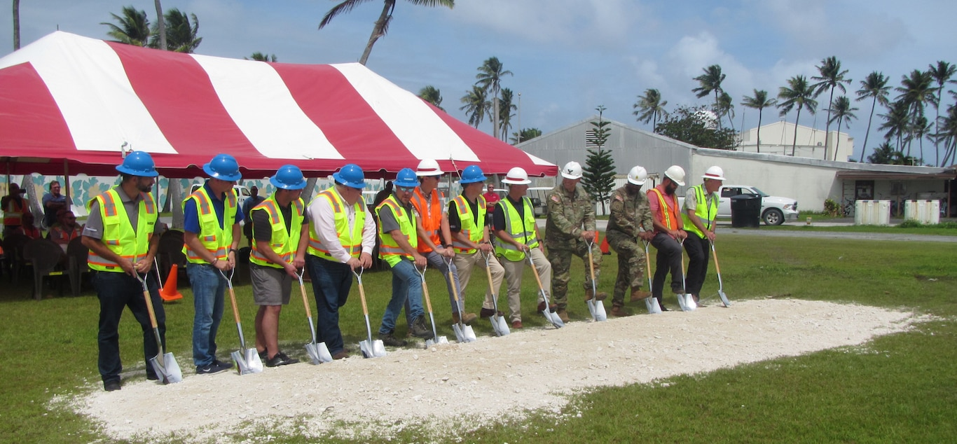 KWAJALEIN ATOLL, Republic of the Marshall Islands (Jan. 10, 2020) -- Senior engineer representatives from the U.S. Army Corps of Engineers Honolulu District and the U.S. Army Garrison Kwajalein broke ground Jan. 10 for the $139 million Bucholz Army Airfield runway repair project. The project is located on Kwajalein Atoll and will completely resurface the runway and install new edge lighting. (U.S. Army Corps of Engineers-Honolulu District photo)