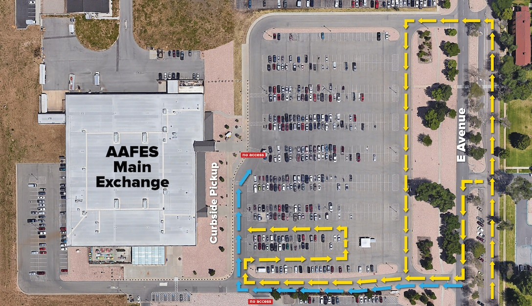Map of drive thru lines to show people how to access curbside service for prescription pickup.
