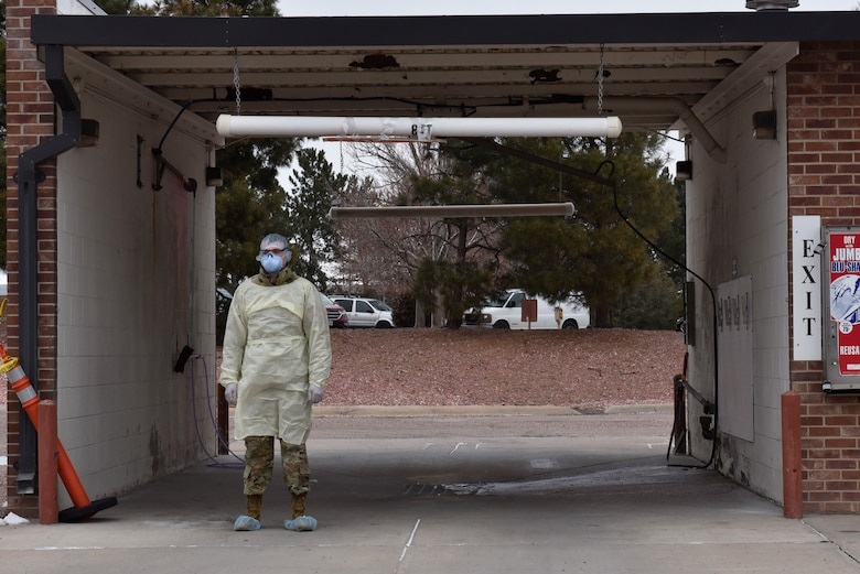 Peterson Air Force Base, Colorado medical professionals established a COVID-19 testing location at the car wash, March 20, 2020 to help limit the possible spread of the virus. The consolidation of patients to this area will help minimize the exposure to COVID-19. If there is concern that you or someone in your family has been exposed to COVID-19, please call (719) 524-2273 first to obtain an appointment. Without an appointment, individuals will be turned away at the test location.  (Air Force photo by Airman 1st Class Alexis Christian)