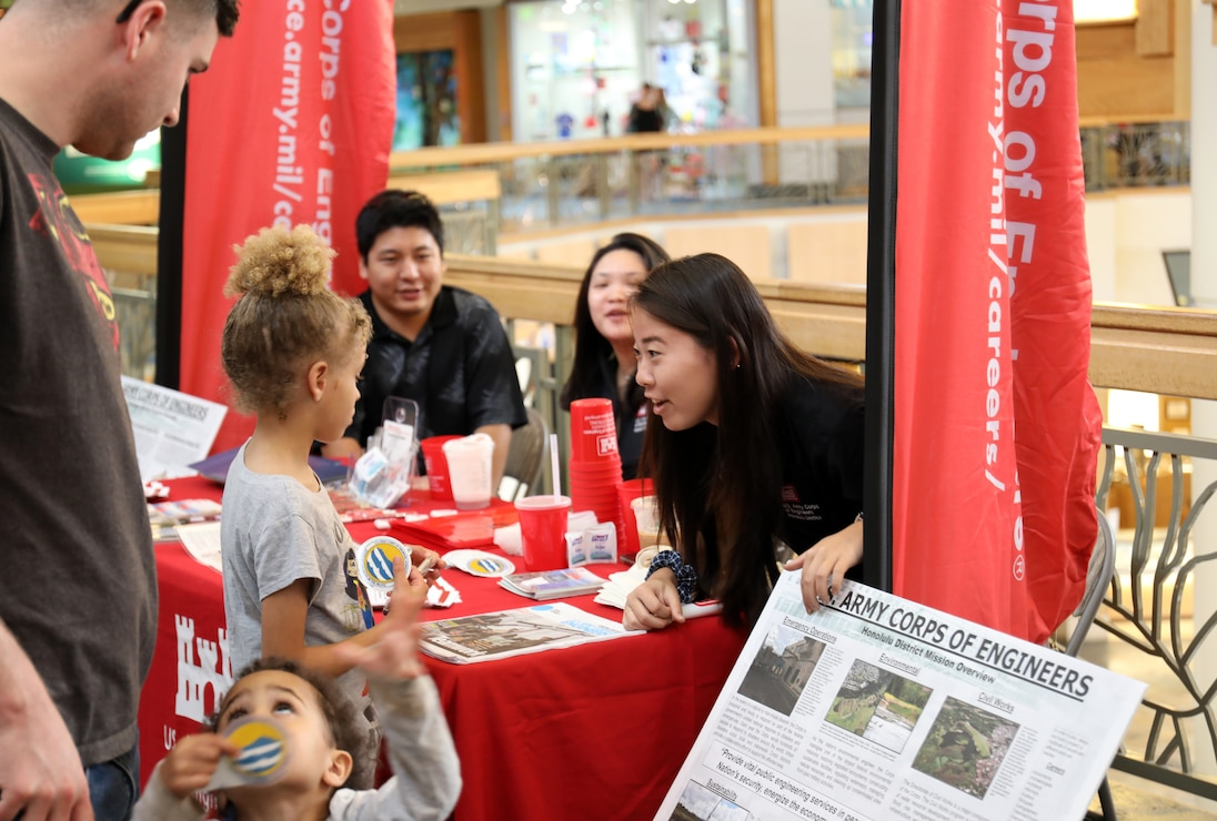 """KANEOHE, Hawaii (Feb. 17, 2020) -- Honolulu District's Department of the Army engineer interns chatted with dozens of people while manning the District's 2020 Engineers Week display Feb. 17 at the Windward Mall center court on Oahu.  This year's Engineers Week theme is """"Pioneers of Progress."""" Curious and interested Oahu residents were able to learn about District projects, programs, STEM job opportunities, as well as STEM careers. The interns created several storyboards for the display that showcases our civil works, IIS, and construction projects across the Pacific region."""