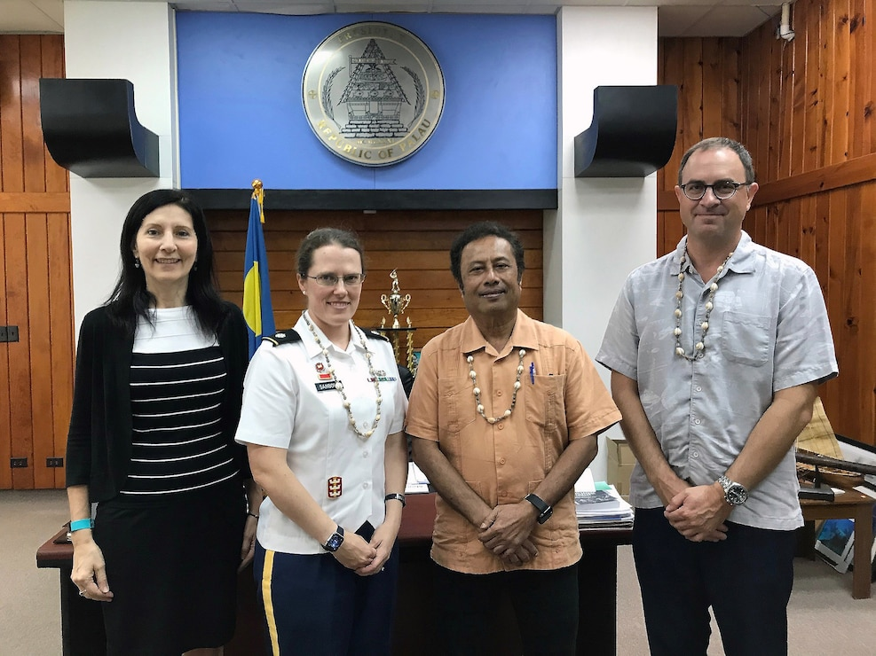 KOROR, Republic of Palau -- Honolulu District Commander Lt. Col. Kathryn Sanborn and Mike Wyatt chief, Honolulu District Civil & Public Works branch met with U.S. Ambassador to Palau Amy Hyatt (left), and Palau President Thomas Remengesau, Jr. (center right), in early February to discuss opportunities for the U.S. Army Corps of Engineers to provide technical engineering support to the government of Palau.  Courtesy photo.