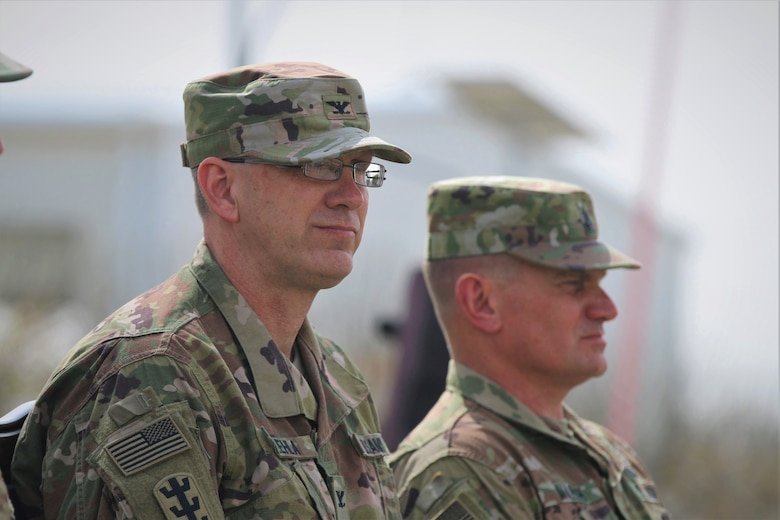 From left, Col. Derek Ulehla and Cmd. Sgt. Maj. James Marsh, command team for the 301st Maneuver Enhancement Brigade. On Sunday, the 655th RSG of Westover Air Reserve Base, Massachusetts, transferred authority of Area Support Group-Jordan to the 301st Maneuver Enhancement Brigade of Joint Base Lewis McChord, Washington. The 301st MEB joined the 1st Squadron, 303rd Cavalry Regiment, Washington National Guard, which has been in Jordan since November.