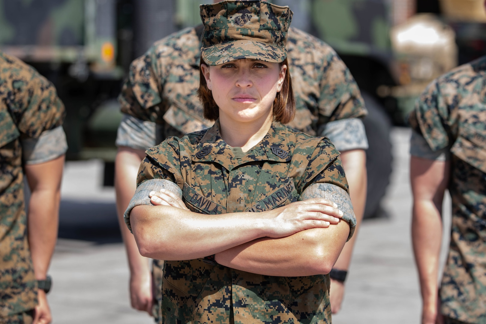 U.S. Marine Corps 1st Sgt. Jessica S. Davila, with Headquarters and Service Company, Combat Logistics Battalion 2, Combat Logistics Regiment 2 poses for a photo on Camp Lejeune, North Carolina, March, 18, 2020. 2nd MLG is honoring the many women who play an essential part to the success of the mission during March for Women's History Month. (U.S. Marine Corps photo by Lance Cpl. Scott Jenkins)