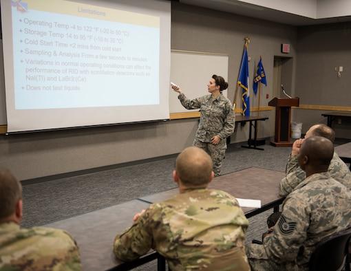 U.S. Air Force Senior Airman Morgan Johnson, an emergency manager with the 133rd Civil Engineer Squadron, teaches a class in St. Paul, Minn., March 11, 2020.