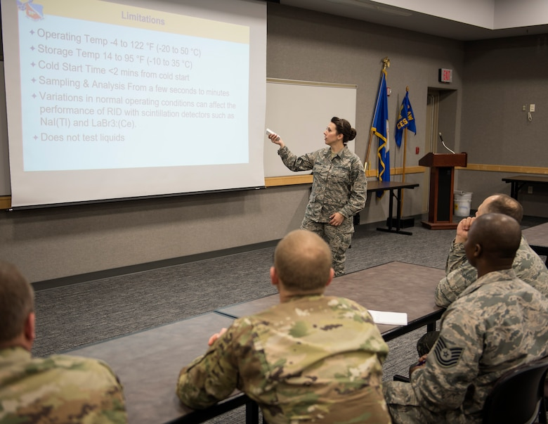 U.S. Air Force Senior Airman Morgan Johnson, an emergency manager with the 133rd Civil Engineer Squadron, teaches a class in St. Paul, Minn., March 11, 2020.