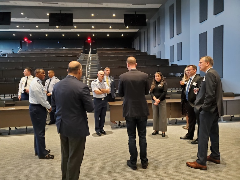 Georgia Cyber Center personnel brief Keesler personnel. (Courtesy photo)