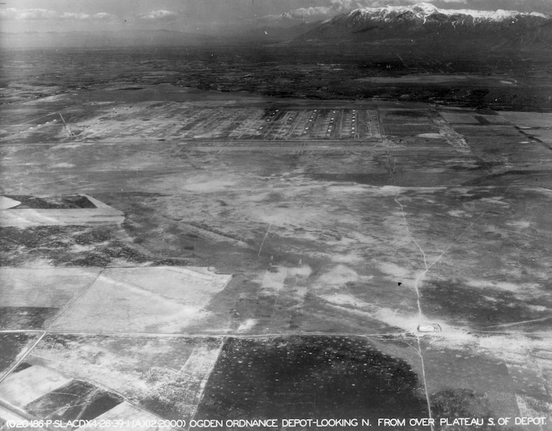 Aerial view, from the south looking north, of the Ogden Arsenal ammunition storage igloos in April 1939.