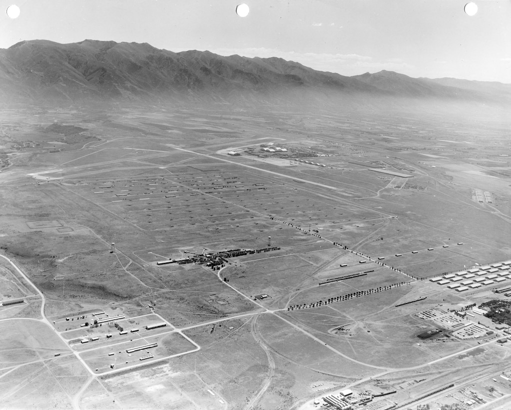 Aerial view, from the northwest looking southeast, of Hill AFB's West Area (formerly Ogden Arsenal), around 1960.