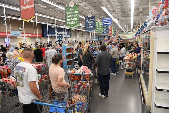 Keesler personnel fill the Commissary at Keesler Air Force Base, Mississippi, March 20, 2020. The Commissary is fully operational amid the COVID-19 outbreak and receives six shipments per week. (U.S. Air Force photo by Kemberly Groue)