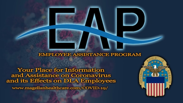 "Employee Assistance Program logo with ""your place for information and assistance on coronavirus and its effects on DLA employees."""