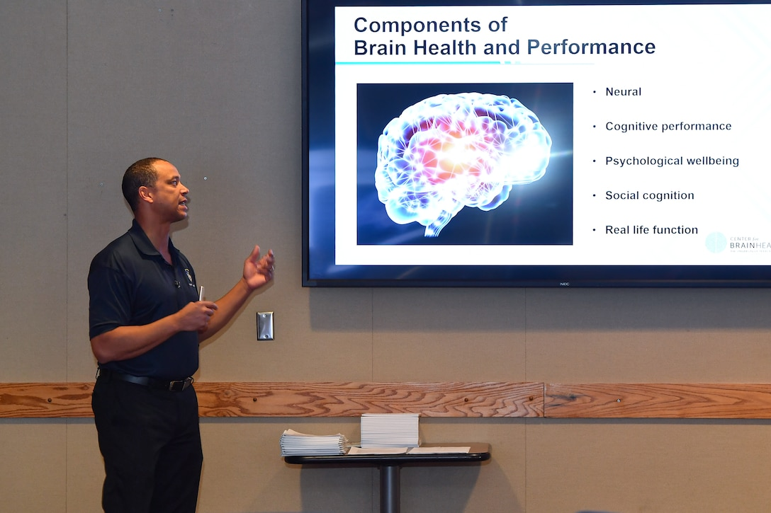 David Stargel, 711th Human Performance Wing chief scientist, gives a presentation on the components of brain health and performance during the Strategic Memory Advanced Reasoning Training at Schriever Air Force Base, Colorado, March 12, 2020. The training is the first of its kind to be hosted at a Space Force installation. (U.S. Air Force photo by Kathryn Calvert)